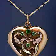 Art Nouveau Gold Heart Locket