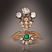 SOLD Belle Epoque Diamond and Emerald Gold Ring