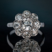 3 Ct Diamond Cluster Platinum Engagement Ring, Antique c. 1910