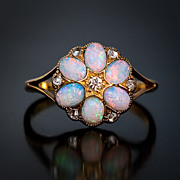 Antique Opal and Diamond Flower Ring, circa 1900