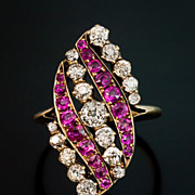 Antique Pink Sapphire and Diamond Swirl Ring