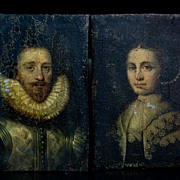 Early 17 century Antique Portrait Miniature / Oil on tin, 2 pcs