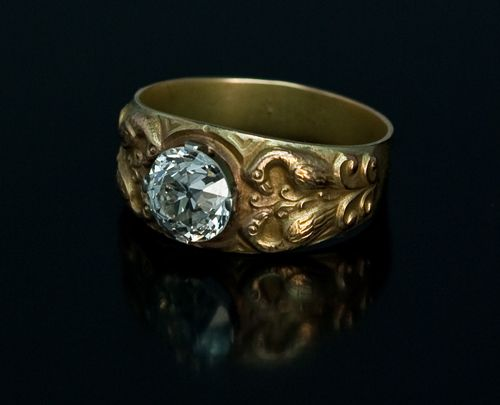 Antique men 39 s 2 ct diamond gold ring in medieval russian for Best place to sell gold jewelry in chicago
