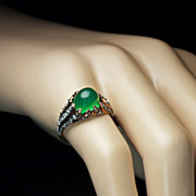 Antique Cabochon Chrysoprase Rose Diamond Ring