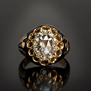 Large Rose Cut Diamond Enameled Victorian Ring