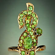 Art Nouveau Green Flower Demantoid Ring
