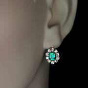 Emerald Diamond Antique Cluster Earrings