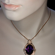 SALE PENDING Victorian Amethyst Rose Gold Antique Pendant