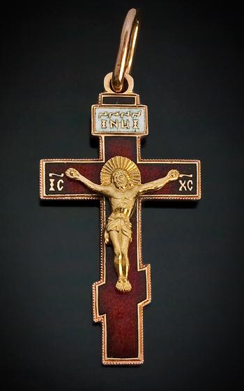 antique enameled 18k gold russian pectoral cross pendant