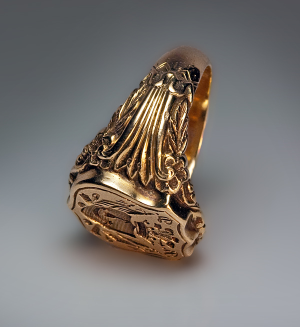 antique signet armorial seal s ring c 1840 from