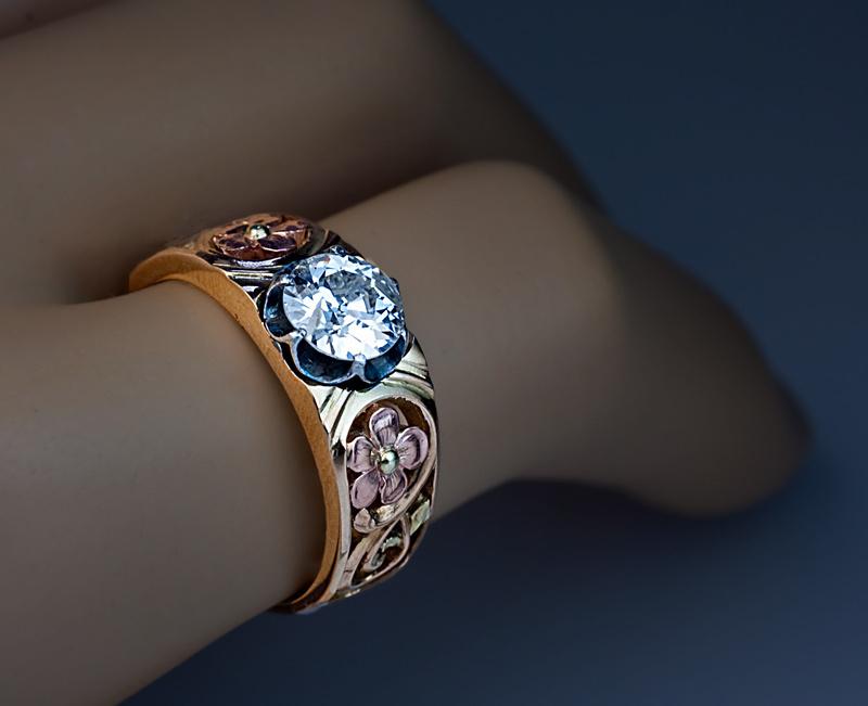 Art Nouveau Diamond Solitaire 14k Gold Men S Ring From