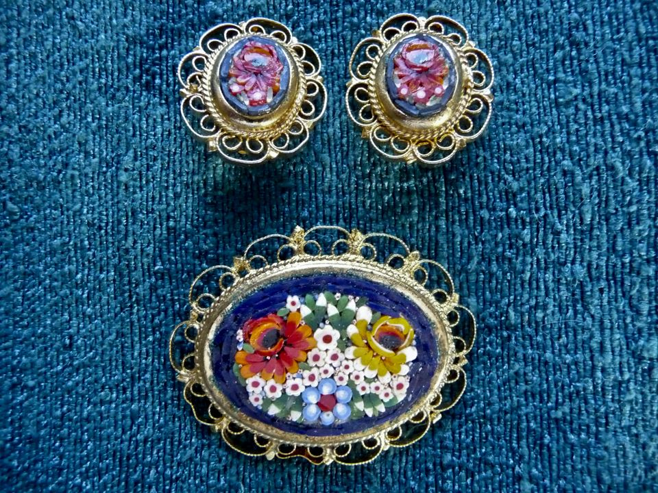 Floral Micro Mosaic Pin and Earring Set with Lacey Gold Tone Metal Border