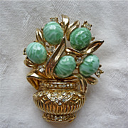 Turquoise Potted Plant Art Glass and Gold tone Vine Brooch
