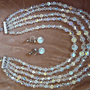 5 Strand Aurora Borealis Crystal Bib Necklace and Earrings Demi Parure Set