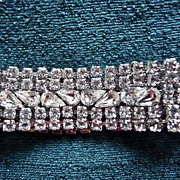 Vintage 1950s 6 Row Clear Rhinestone Bracelet with Navettes