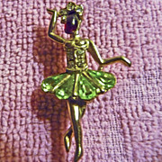 Vintage Rhinestone Christmas Ballerina Dancer Pin Brooch