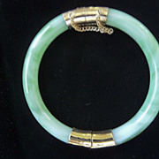 Vintage Jadeite Bangle Bracelet	with Gold-tone hardware clasp