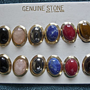 SALE Vintage Clip-on Earrings Semi-Precious Stones Set