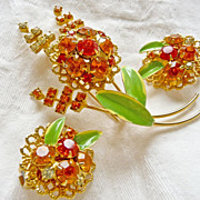 Vintage Set Orange and Green Enamel Rhinestone Floral Spray Brooch/Pin and Matching Filigree E