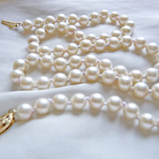 SALE Vintage Exquisite Cultured Akoya Pearl 18� Necklace 14K Gold Clasp