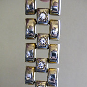 Machine Age Link Bracelet with Rhinestones and Irridescent Faux Gold Silver Finish