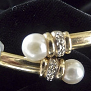 SOLD Elegant 14 Karat Gold and Cultured Pearl Stud Bracelet Bangle