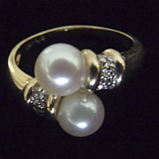 SOLD Vintage Elegant 14 Karat Gold Bypass Cultured Pearl Diamond Wraparound Ring