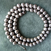 Vintage Glistening 1970's Sterling Silver Bead Necklace - 24""