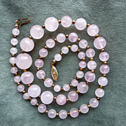 Vintage Rose Quartz Graduated Bead Necklace