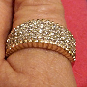 Vintage Pave Diamond and 14K Gold Elegant Ring Band