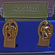 Authentic 1970s Men's Zodiac Aquarius Gold Mesh Cuff-links