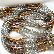 SALE Vendome Vintage Signed Necklace Silvery Metallic Crystal, Gold finished, Cognac, and Rais