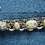 Pale green/yellow/cream Art Glass Cabochon Link Bracelet