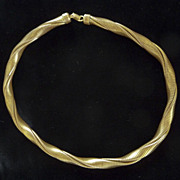 1940s Bright Gold Tone Twisted Metal Gas Pipe Necklace Choker