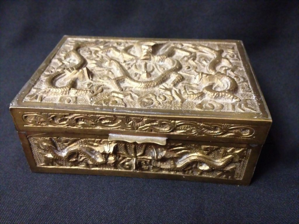 Chinese Brass Dragon Motif Box