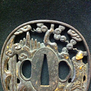 SALE Man with Child Gilt Work Japanese Tsuba