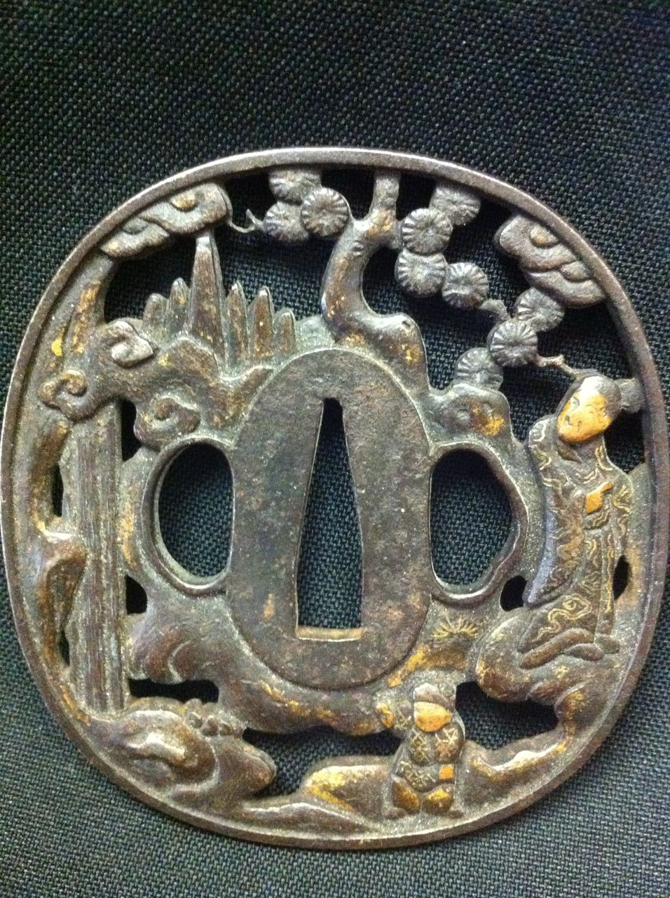 Man with Child Gilt Work Japanese Tsuba