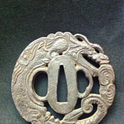 SALE Signed Dragon Tsuba with Openwork