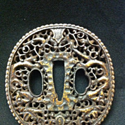 SALE Intricate Geometric Floral Motif Tsuba with Gilt and Openwork