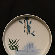 SALE 19th/20th Century Chinese Porcalin Plate With Jumping Fish Motif