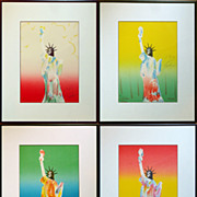 "Peter Max Set of 4 ""Liberty"" Lithographs all Signed, Numbered and Dated 1980"
