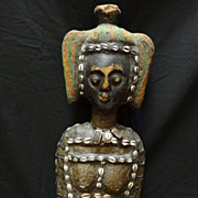 Ivory Coast Hand Carved Wood, Cowrie and Copper Figure