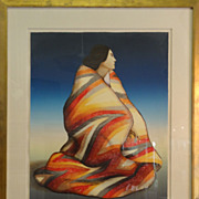 "R.C. Gorman ""Woman With A  Blanket"" Lithograph Native American"