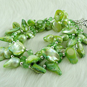 SALE Peridot Green Cultured Freshwater Blister Pearl Bracelet with Crystals and Silver Accents
