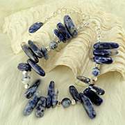 SALE Natural Sodalite semi precious gemstone bracelet with Plated Silver