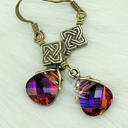 SALE Swarovski Crystal Volcano Briolette Antique Brass Celtic Knot Metal Earrings