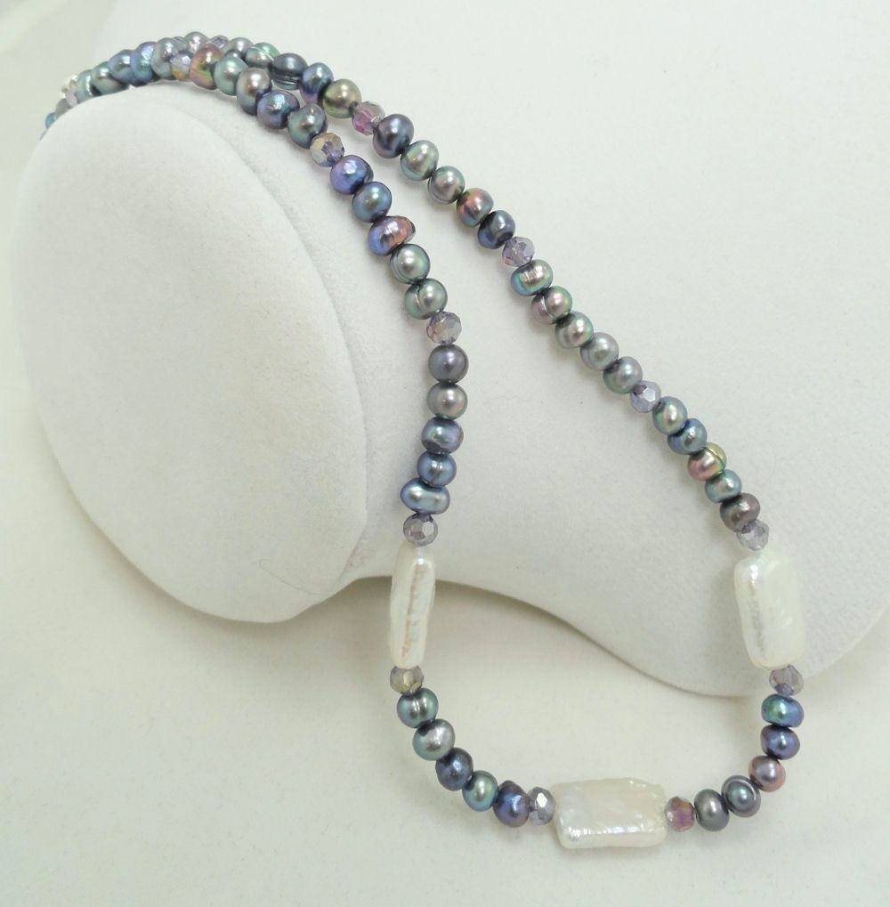 Peacock Feather Colored Glass Beads and Cultured Freshwater Pearl Necklace