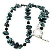 SALE Teal Cultured Freshwater Pearl with 6mm Black Crystal and Sterling Silver Plated Spacer .