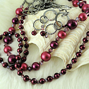 SOLD Burgundy Glass Pearl and Crystal 2-Strand Necklace and Earring Set