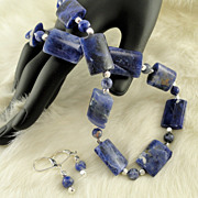 SALE Semi-Precious Sodalite Gemstone and Silver Necklace and Earring Set